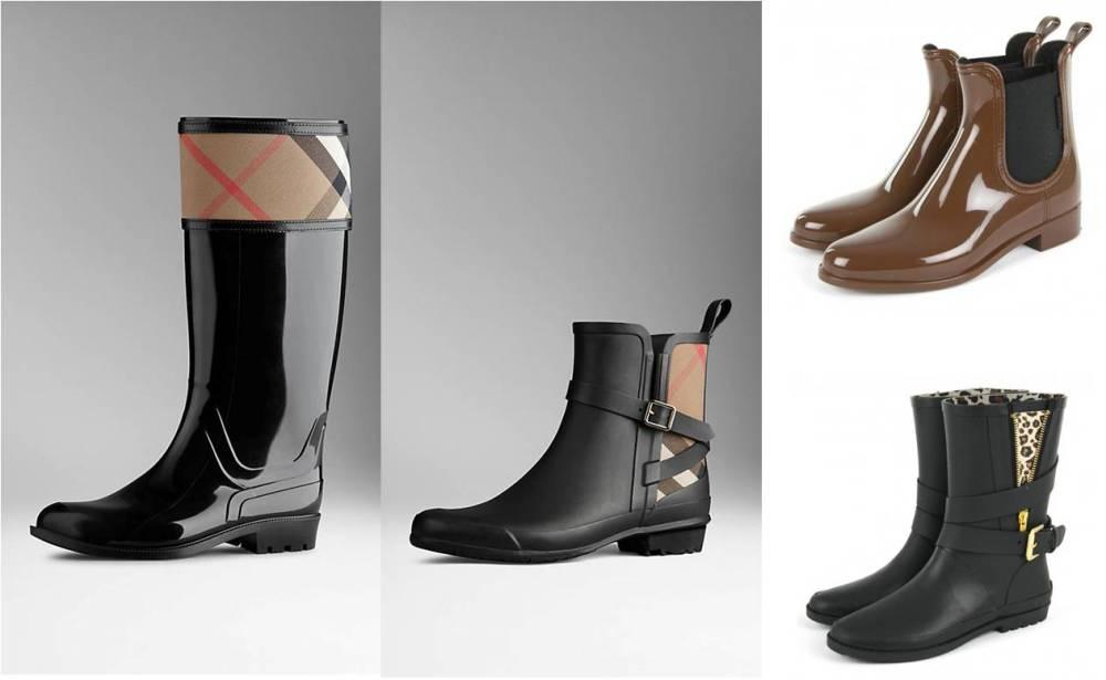 botas de agua marrón negro